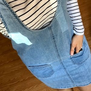 Light wash denim pinafore dress NWT size Large